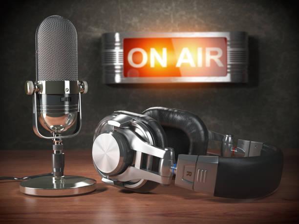 Podcast vs Radio microphone and headphones
